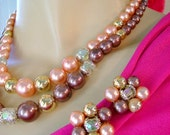50s 60s vintage japan set necklace earrings champagne toffee crystal beaded