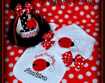 Ladybug Cake Smash,  3 Pc. Set, Ladybug Hat, Bib, and Ribbon Bloomers,.
