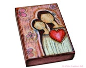 Un Solo Corazón Mother Daughter  - Giclee print mounted on Wood (6 x 8 inches) Folk Art  by FLOR LARIOS