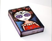 Frida with her Day of the Dead Mask - Aceo Giclee print mounted on Wood (2.5 x 3.5 inches) Folk Art  by FLOR LARIOS