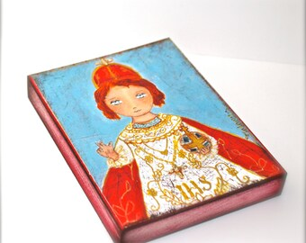Infant Jesus of Prague -  Giclee print mounted on Wood (4 x 5 inches) Folk Art  by FLOR LARIOS
