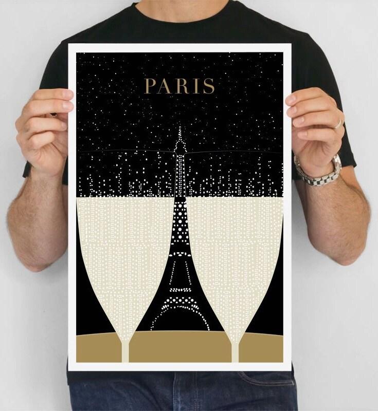 Paris Print, Eiffel Tower Minimalist Large art print Travel Poster, Modern Art Deco Poster Print, Paris Bedroom Art Gift for Girlfriend