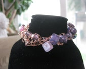 Crochet Bracelet - Amethyst purple and copper wire bracelet