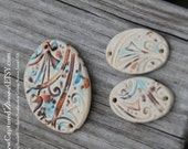 Pottery Cuff Bead, The little Elli with with matching disc in Mocha Mint in a whimsy pattern