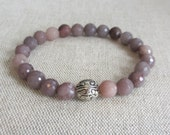 Gemstone Beaded Stretch Bracelet - Faceted Multicolor Agate and Tibetan Silver