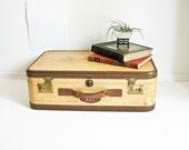 Vintage 1940s Suitcase - Camel Color - Initials - Hartman Suitcase