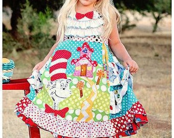 Back to School Cat Dress  Custom Size 2 3 4 5 6 7 8