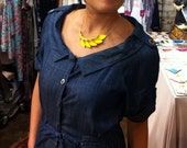 Petal Collection-  Bright Yellow Leather Necklace