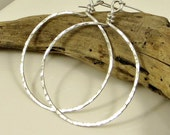 Silver Hoop Earrings - X X Large (16G), Eco Friendly Jewelry, Silver Earrings, Large Silver Hoop Earrings Gifts for Her
