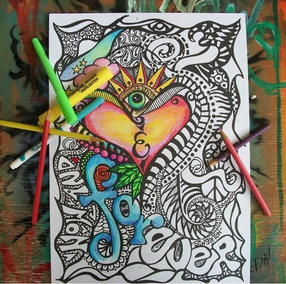 Party Pack of Hippie Coloring Pages