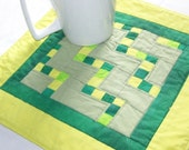 Stepping Stones Scrappy Coaster Mug Rug or Mini Quilt in Green and Yellow