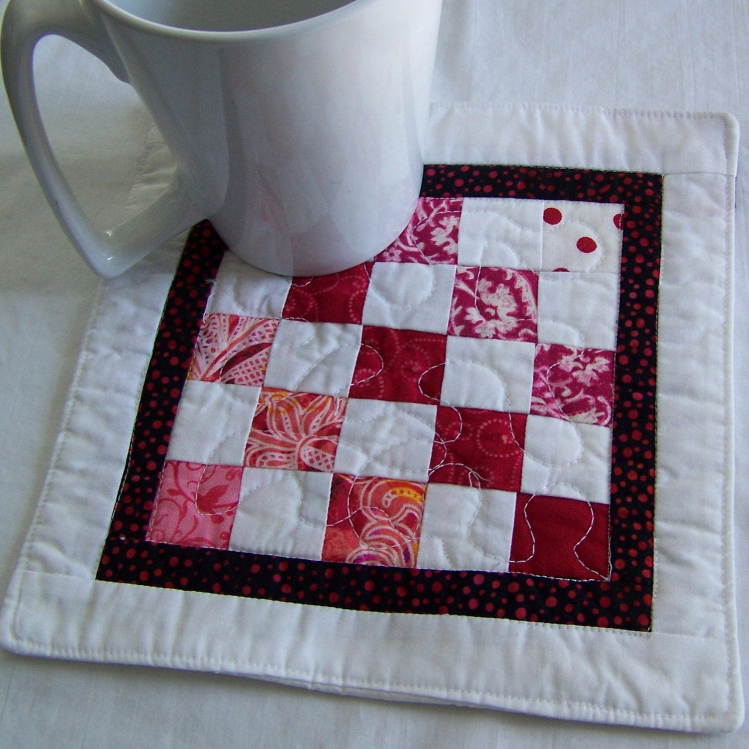 Coaster Mug Rug Or Mini Quilt In Pink And White