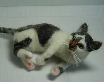 Custom needle felted Cat sculpture portrait complex pose larger size