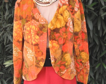 1970s Velour Jacket / Orange and brown Velour Jacket by MISTER ROBERT Size 12