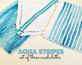 Knitted Washcloths - Aqua Stripes - Set of 3