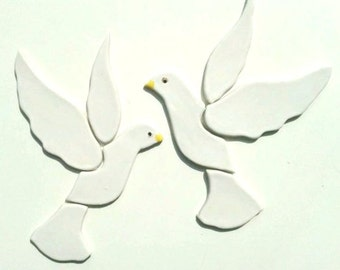 2 handmade ceramic doves birds tiles for mosaic or other projects