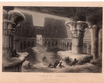 Temple of Karnac- Original Antique Bookplate from 1880