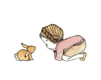 Children's Art -- Rabbit Girl -- Archival Print