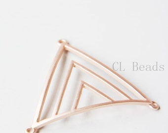 One Piece Matte Rose Gold Plated Base Metal Pendant - Triangle 55x47mm (29C-S-88)