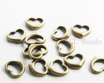 20pcs Antique Brass Tone Base Metal Link - Heart 13x12mm (9078Y-E-26B)