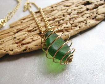 Forest Green Pendant - Sea Glass Necklace - Beach Glass Jewelry - Caged Sea Glass