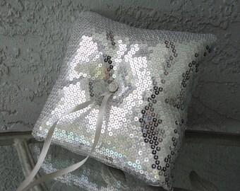 Silver Sequins Fabric Ring Bearer Pillow