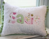 Personalized Applique Chenille Chevron Mini Throw Pillow. Perfect for baby or big girl room, Great Gift