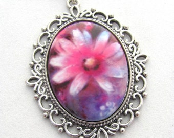 Pink Daisy Pendant, Pink Flower Cameo Necklace, Cottage Chic Jewelry