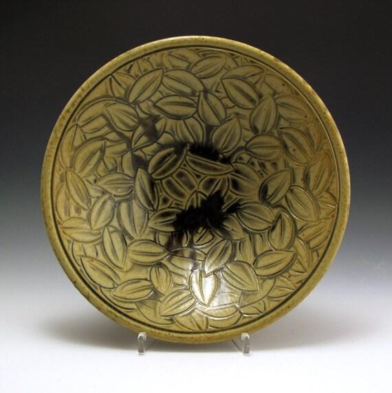 Bowl pottery stoneware ash gold carved leaf pattern