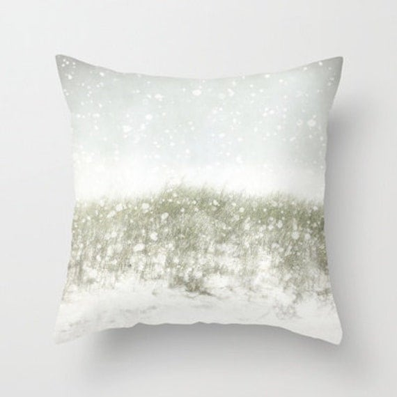 Home Decor Photograph Throw Pillow, nature, white, gray, Snow on the Beach