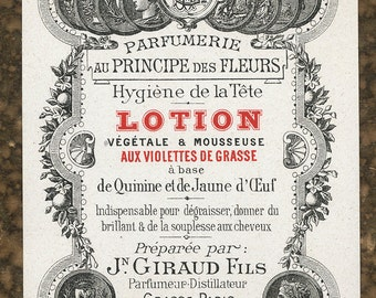 Antique Vintage French Apothecary Perfume Label 30