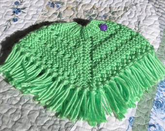Knitted Poncho, Doll - Lime