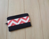 Coral Chevron Oversized Clutch Wallet with Chrome Zipper