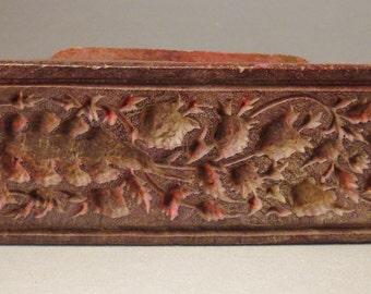 TEXTILE BATIK Wood Stamp -Mold Decorative handcarved India Asia 6 x 3 x 2