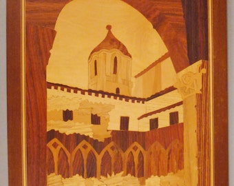 MARQUETRY WOOD INLAY Plainting Plaque Handcrafted Italian Monastery Courtyard  scene 15x11