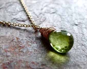 Peridot 14K Gold Fill Necklace - August Birthstone Pendant Jewelry