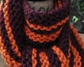 Striped Scarf - Mens Long Chunky Knit Scarf - Womens Warm Scarf - Ladies Winter Wool Scarf - Teen Scarf Team - Burgundy Red - Pumpkin Orange