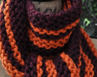 Striped Scarf - Mens Long Chunky Knit Scarf - Womens Warm Scarf - Ladies Winter Wool Scarf - Teen Scarf Team - Burgundy Red - Pumpkin Orange