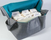 Mega Large Coupon Organizer Holder Houndstooth Heavy Duty Duck Cotton Turquoise Lining