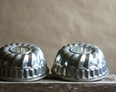Vintage Tin Molds, Food Crafting, Antique Kitchen Baking Pans,  Farmhouse Decor, West Germany, Christmas Pudding