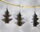 Metal Christmas Tree Ornaments, Set of 3, Industrial Holiday Decor - susantique