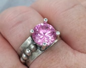 10mm pink cz and sterling silver ring