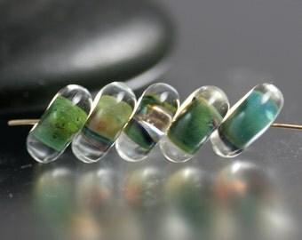 Lampwork Glass Beads - Pair in Blue Green - Lampwork Beads - 10mm