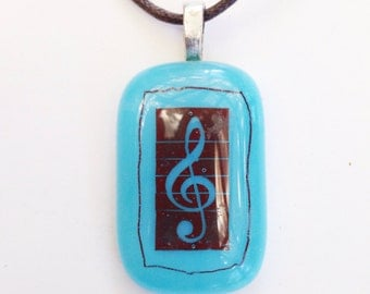 Treble clef pendant - fused glass - turquoise blue and brown - music pendant - music necklace - musician gift under 20