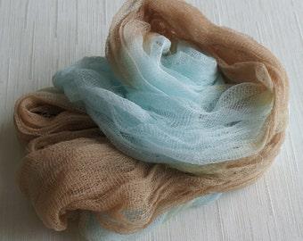 Newborn Cheesecloth, Newborn Wrap Photography Prop, Blue Brown Cheesecloth, Baby Wrap, Newborn Photo Prop, Newborn Cheeseclth Wrap, Gauze