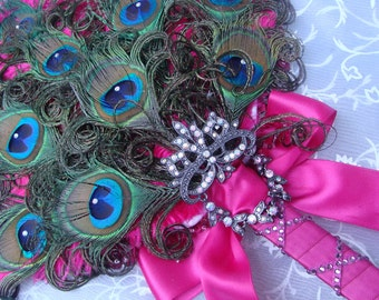 Masquerade Feathered Fan Bridal Bouquet in your choice of colors