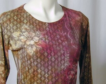 Maize, Magenta, Honey, and Walnut Atomic Lace Hand Dyed Organic Bamboo Tee (small)