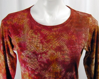 Crimson, Curry, and Black Coffee Crazy Crochet Atomic Lace Hand-Dyed Organic Bamboo Tee (small)