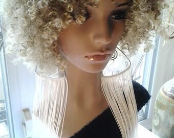 Beautiful Wire String Long Earrings, Large Earrings, Women's Earrings, Women's Jewelry