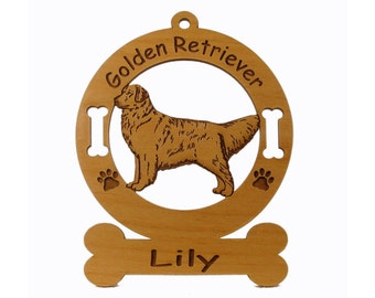 3254 Golden Retriever Standing Personalized Dog Ornament